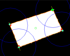 Image of the yellow Kinect Portal Regression Lines along the white rectangle blob.