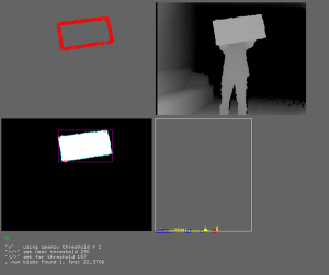 Old Kinect Portal Developer Console showing RGB, depth and a depth histogram.