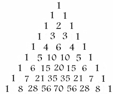 First 9 rows of Pascal's Triangle