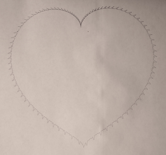 """Classic heart image, drawn at about 8"""" diameter. As in the spiral drawing, the beats are more closely spaced closer to the center. However, the polar graph math that defines the heart puts the center at the point of the cleft of the heart, rather than the centroid of the figure—hence the funny spacing."""