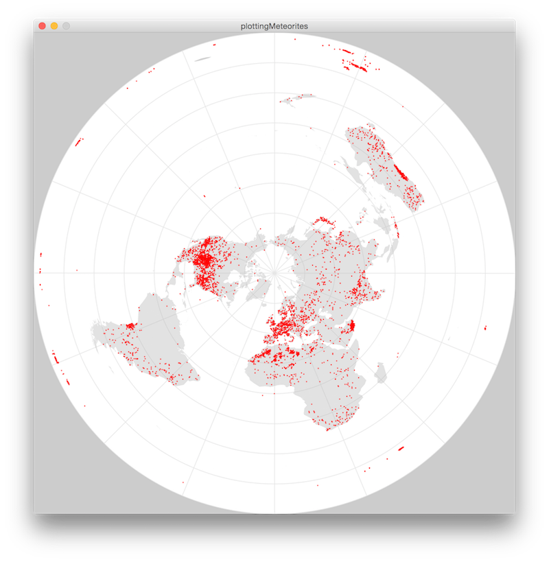Polar azimuthal projection of ~35k found meteorites